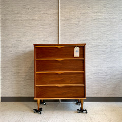 Mid-Century Modern Walnut 4 Drawer Tallboy Dresser By Vic Art