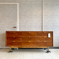 Mid-Century Modern Walnut 9 Drawer Tallboy Dresser By VicArt