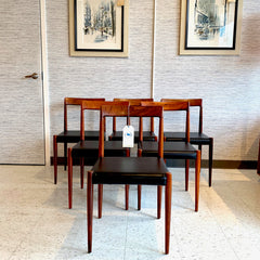 Mid-Century Solid Brazilian Rosewood Dining Chairs by Lubke