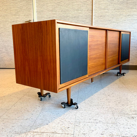 Mid-Century Teak 4 Door Sideboard With Naugahyde Doors
