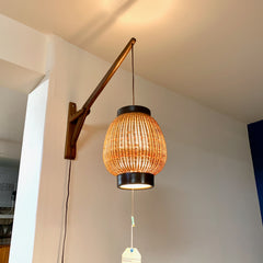 Mid-Century Teak Adjustable Wall Lamp With Cane Shade