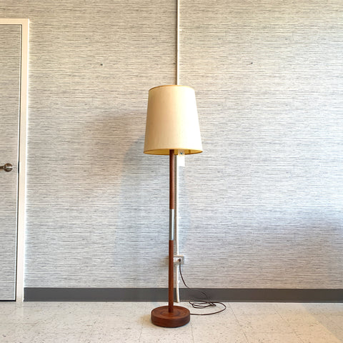 Mid-Century Teak And Aluminum Floor Lamp With Original Hardback Shade