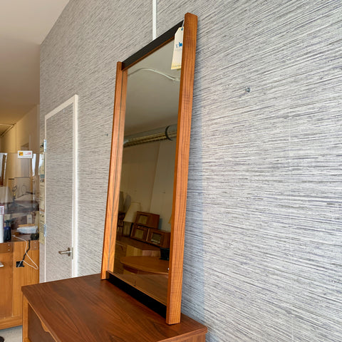 Mid-Century Teak And Black Laminate Framed Mirror