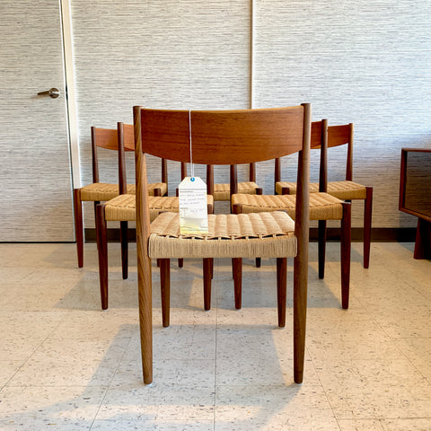 Mid-Century Teak And Danish Cord Dining Chairs By Poul Volther