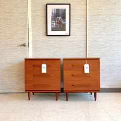 Mid-Century Teak Bedside Tables With 3 Drawers