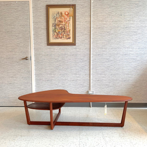 Mid-Century Teak Boomerang Coffee Table With Shelf
