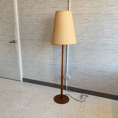 Mid-Century Teak Floor Lamp With Original Hardback Cone Shade