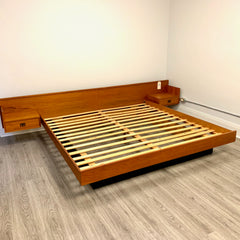 King Size Mid-Century Teak King Bed Frame With Naugahyde Base