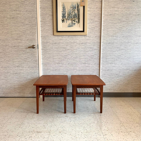 Pair Of Mid-Century Teak Side Tables With Original Cane Shelf