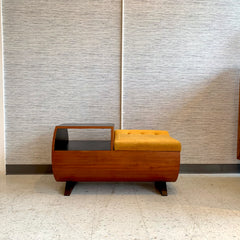 Mid-Century Teak Telephone / Entry Bench By RS Associates