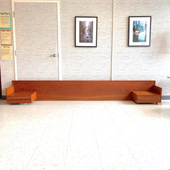 Mid-Century Teak Wall Mount King Headboard With Floating Side Tables