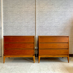 Mid-Century Walnut 3 Drawer Dresser or Bedside Chest