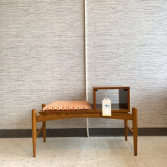 Mid-Century Walnut And Elm Telephone Or Entry Bench