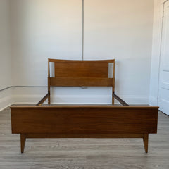 Mid-Century Walnut Double Bed Frame