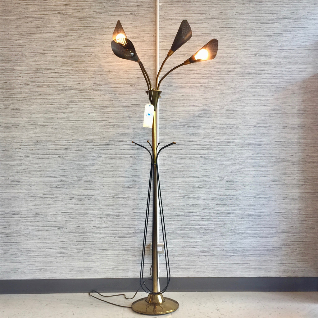 Mid Century Atomic Gooseneck Floor Lamp With 4 Black Articulating Cone