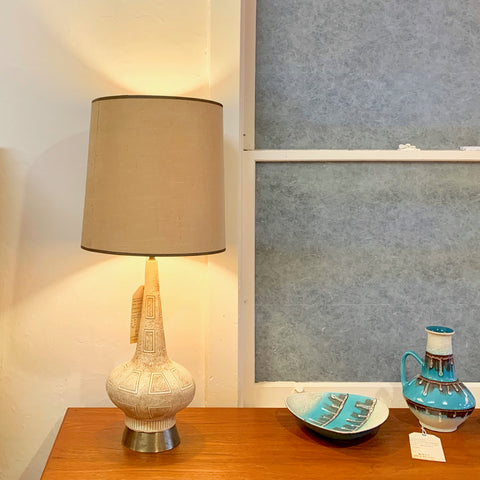 Mid-Century Ceramic And Brass Table Lamps With The Original Shades