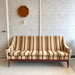 Mid-Century Modern 3 Seat Sofa With Teak Accents