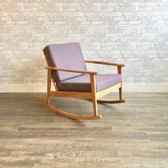 Mid-Century Modern Blonde Walnut Rocking Chair.