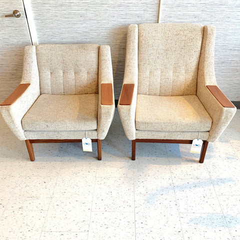 Mid-Century Modern Lounge Chairs With Teak Accents