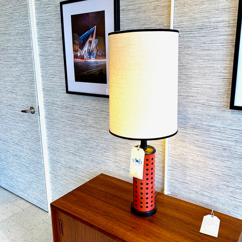 Mid-Century Modern Polka Dot Ceramic Table Lamp