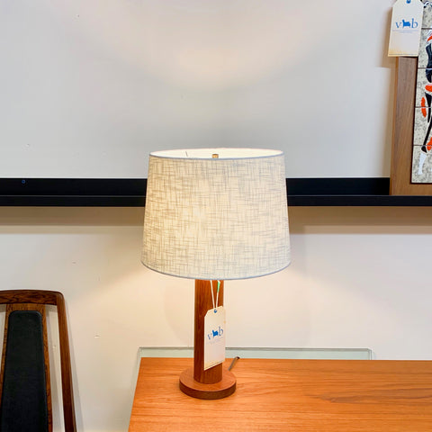 Mid-Century Modern Solid Teak Table Lamp