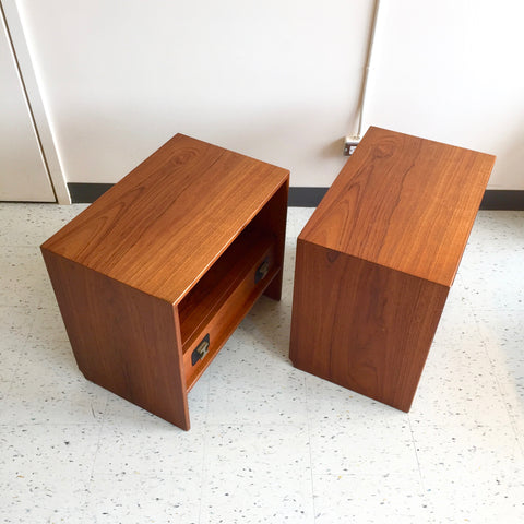 Mid-Century Modern Teak End Tables With A Drawer And Shelf