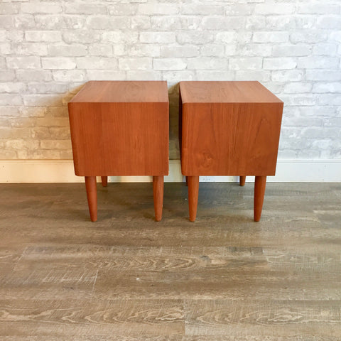Mid-Century Modern Teak Side Tables with Drawer
