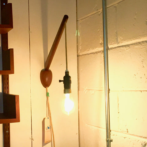 Mid-Century Modern Teak Swivel Wall Lamp