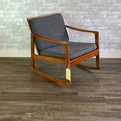 Mid-Century Solid Oak Rocking Chair In The Style Of Ole Wanscher