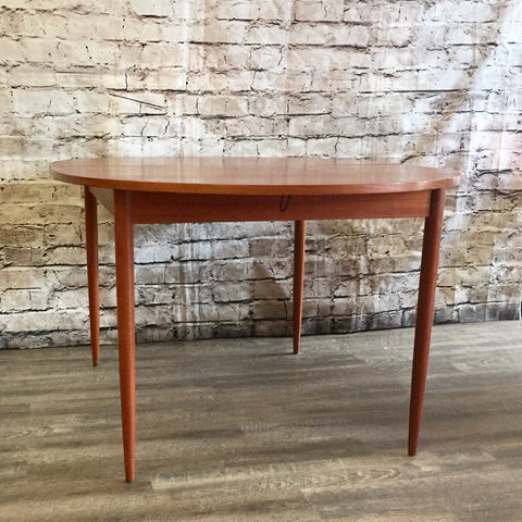 Mid-Century Oval Teak Dining Table With 2 Extensions