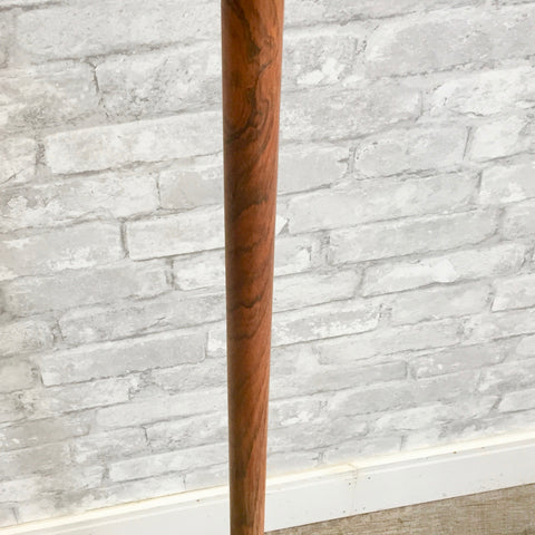 Mid-Century Rosewood Floor Lamp With Tripod Cast Iron Base