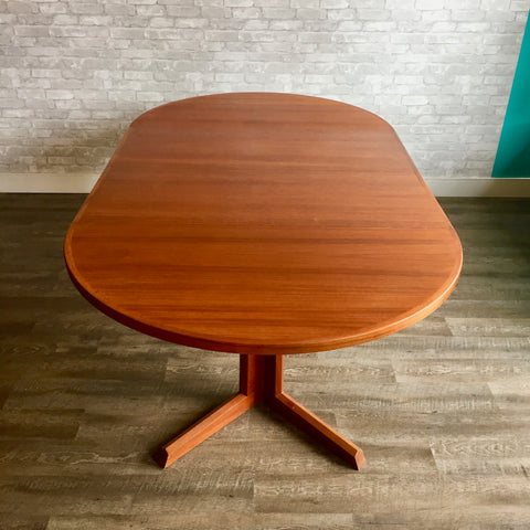Mid-Century Round Danish Teak Extending Dining Table By Gudme