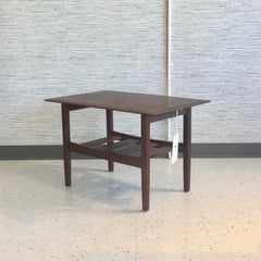 Mid-Century Side Table With Shelf In Solid African Teak By Imperial