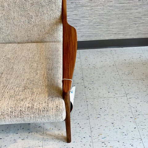 Mid-Century Solid African Teak High Back Lounge Chair By R Huber