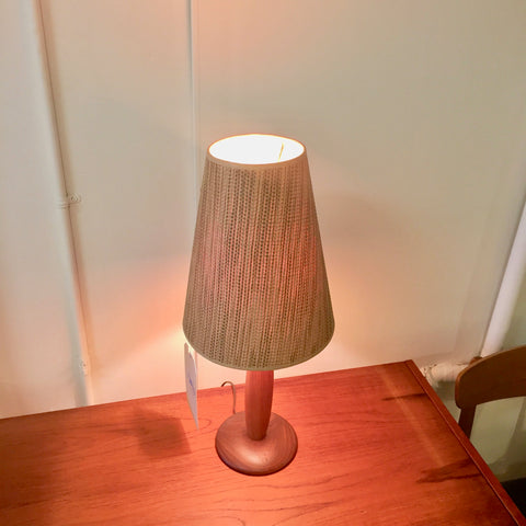 Mid-Century Solid Teak Table Lamp With Original Shade