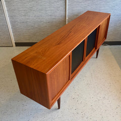 Mid-Century Teak 4 Door Sideboard With Centre Naugahyde Doors