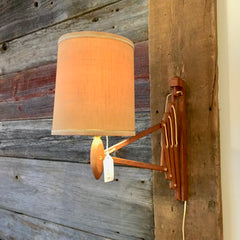 Mid-Century Teak Accordion Wall Lamp With Original Shade