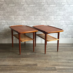 Mid-Century Teak And Cane Side Tables By Poul Jensen For Selig