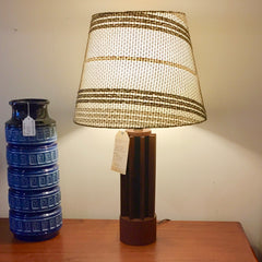 Mid-Century Teak And Leather Table Lamp with Original Wool Shade