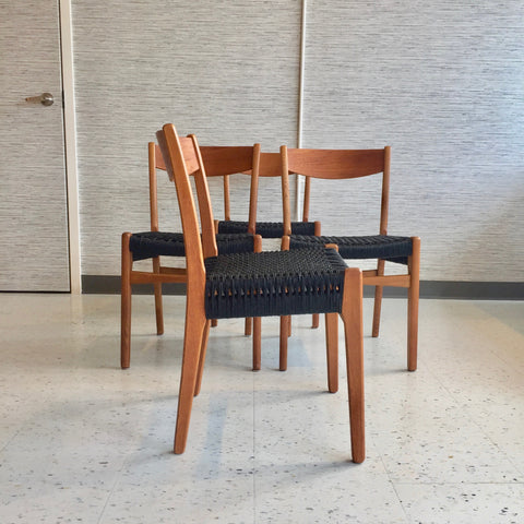 Mid-Century Teak And Oak Dining Chairs With Danish Cord Seats