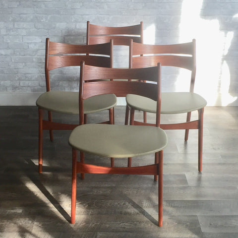 Erik Buch Model 310 Mid-Century Teak Dining Chairs For R Huber