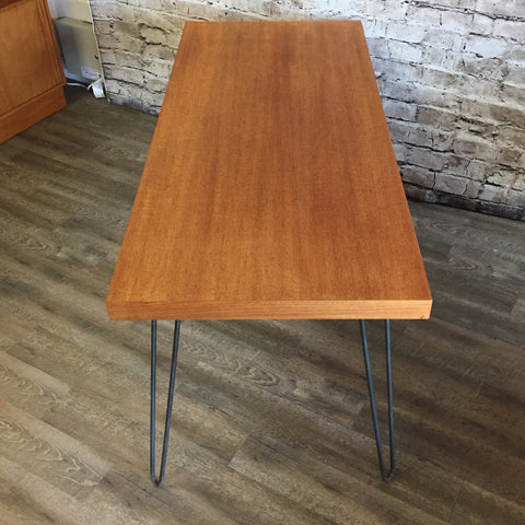 Mid-Century Teak Dining Table or Desk with Hairpin Legs