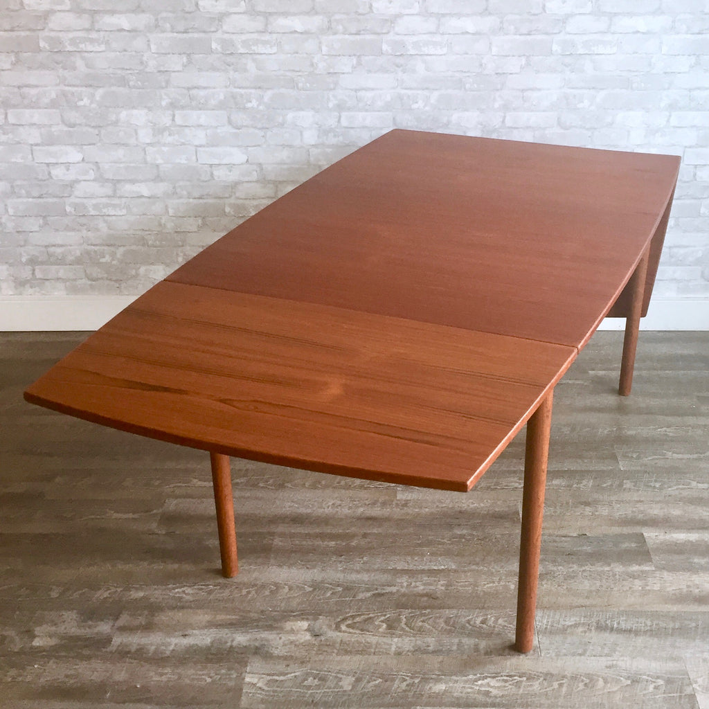 MidCentury Teak Dining Table With Drop Leaves By Borge Mogensen For F - Teak dining table with leaf
