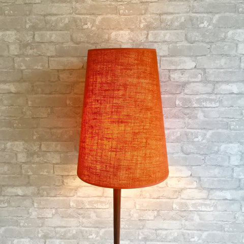 Mid-Century Teak Floor Lamp With Original Hardback Orange Shade