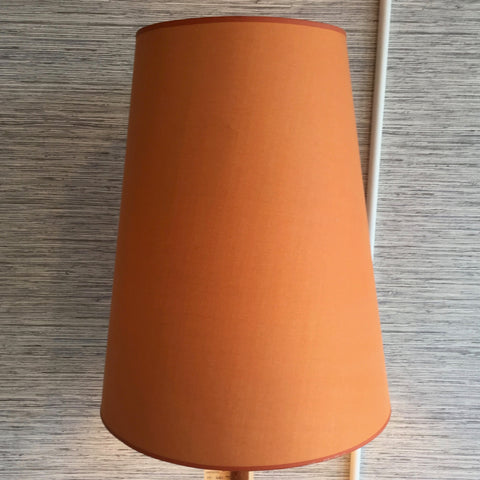 Mid-Century Teak Floor Lamp With Original Orange Cone Shade