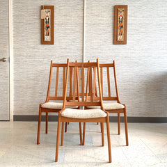 Mid-Century Teak High Back Dining Chairs With Flat Spindle Backs