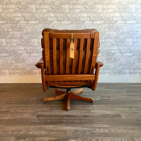 Mid-Century Teak Recliner And Ottoman By Lied Mobler