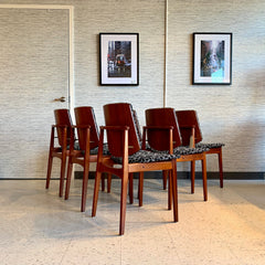 Mid-Century Teak Shield Back Dining Chairs By Arne Hovmand-Olsen