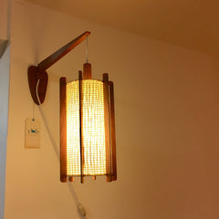 Mid-Century Teak Swivel Wall Lamp With Original Off-White And Teak Shade