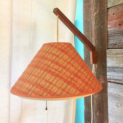 Mid-Century Teak Swivel Wall Lamp With Original Shade and Diffuser